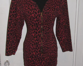 80's BODYCON LEOPARD PRINT Party Dress // Zipper Black Red Size M 90's Super Model Concert Fitted Body Conscious Rockstar