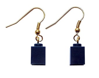Navy Blue LEGO (R) brick 1x1 on a Silver/Gold plated dangle (hook)
