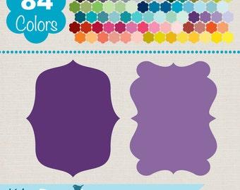 Digital Labels, Simple Colorful Frames, Rainbow Labels Clip Art, Huge Clipart Pack - INSTANT DOWNLOAD