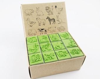 Rubber Stamp Scrapbook supply stamper, Happy Animal, Rabbit, Elephant, Zebra, Turtle, Lion, Kangaroo, duck, high quality stamper 12 stamps