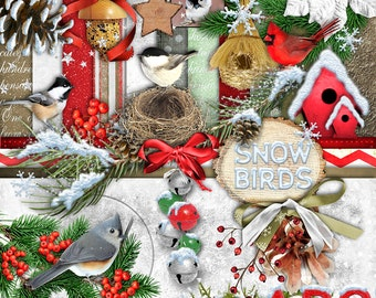 INSTANT DOWNLOAD Snow Birds Christmas - Digital Scrapbook Kit for scrapping, crafts or card making