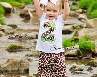 Safari Birthday outfit- Girls Giraffe set- Giraffe Applique shirt- Girl's Giraffe Birthday shirt- Ruffle pants- Zoo trip outfit- Birthday