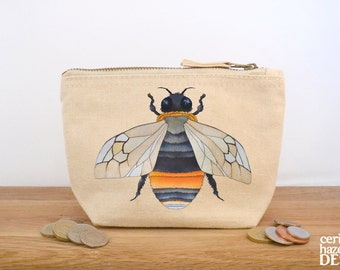 Bee Canvas Zip Purse, Makeup Bag, Coin Purse, Small Accessory Pouch