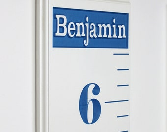Children's Growth Chart Ruler - Numbers Lines And Personalized Name Fully Carved