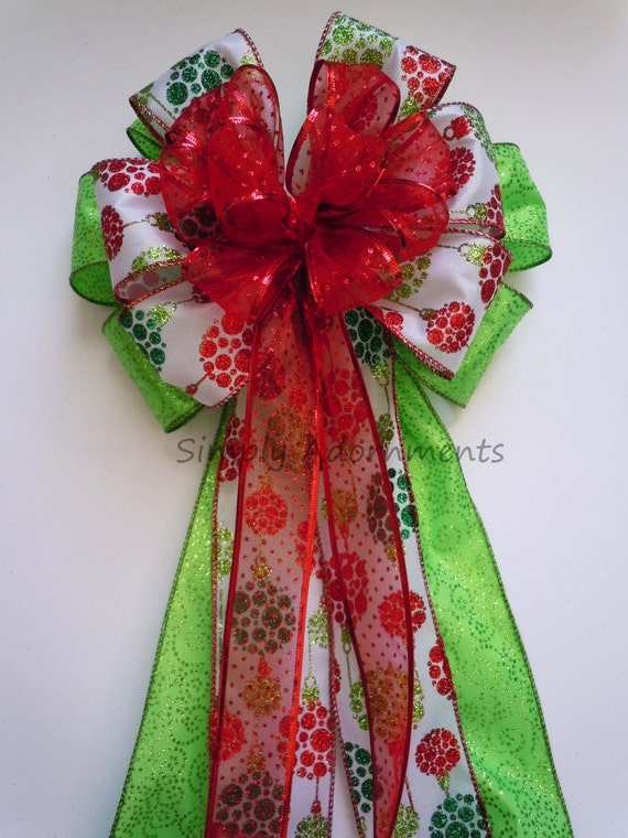 Red Lime Christmas Tree Bow Red Green Tree Topper Christmas Bow Winter Holidays Gift Bow