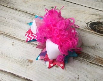 Girls hair bows, Hair bow, Over the top hairbow, Girls hair bows Hot Pink Curly Ostrich Birthday, Pageant, Photo prop, Hair bow