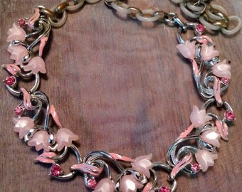 Pink Flower Necklace 50-60's Pink Tulip Celluloid Thermoset Enamel Rhinestone