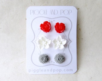 Resin Flower Stud Earrings in Red, White and Grey. Red Rose Earrings, White Lily Earrings, Grey Mum Earrings. Cute Resin Flower Earrings.