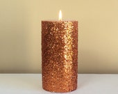 Orange / Copper Glitter Unscented Pillar Candle - 4, 6, 9 inch - FREE GIFT WRAP