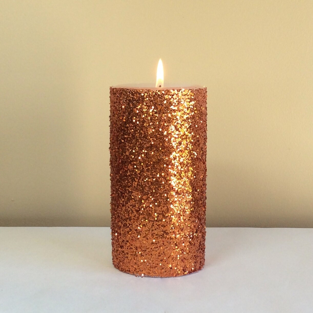 Orange copper glitter unscented pillar candle 4 6 9 inch for Shimmer pillar candle