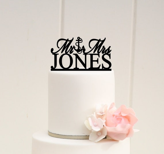Wedding Cake Design Names : Mr and Mrs Topper Anchor Wedding Cake Topper Design