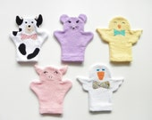 Barnyard Animals Pastel Colored Terry Cloth Bath Mitts--Set of 5 (Size Small)