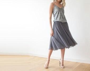 Tulle midi length grey bridesmaids skirt 3006