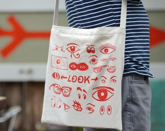 Eyes Screen Printed Canvas Tote Bag, Over the Shoulder Day Bag