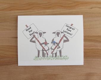 Sheep Family Congrats Card 'Good For Ewe/Congrat Ewe Lations' // white or black sheep - boy or girl lambs