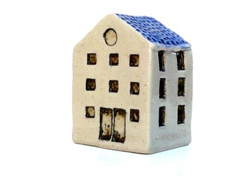 Ceramic Sculpture,  Small Home , Tiny Clay House ,White And Blue Building, Town House