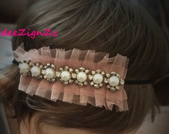 Girls Hair Accessories-Vintage-Pink-Ruffle-Pearls-Headband-Wedding-Bridal-Dusty Pink--Bridesmaid-Flower Girl-Baby-Baptism-Christening-mauve