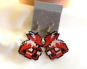 Pixel Red Mage 8bit Final Fantasy Earrings Handmade Bead - Made to Order