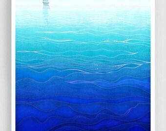 Lonely way - Art Illustration Print Poster Love decor Home decor Nature prints Nursery Kids wall art Love Turquoise sea prints Ocean prints