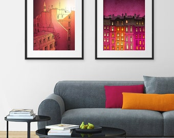 Any TWO Prints - Save 20%,Set of two Illustrations,Fine art illustration Giclee Print Art Poster Home decor Large wall art Modern Paris art