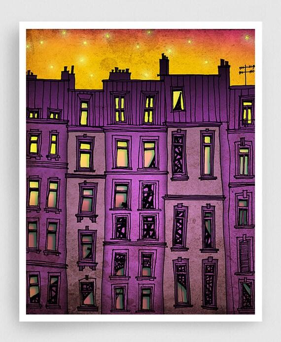 Paris purple facade - Paris illustration Art Illustration Print Poster Paris drawing Art Print Home decor Nursery art Kids wall decor Purple