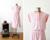 FINAL SALE - Vintage Striped Dress - 80s Dress - Cap Sleeve - Pink Stripe Sundress - Casual - Preppy - 1980s Clothing - Small