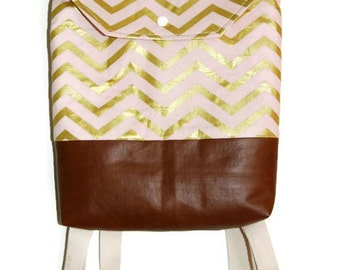 Toddler Backpack Pink and Gold Chevron