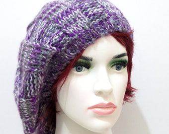Sale Knit Slouch Hat women purple , Slouchy beanie, Winter slouch hat, Women slouchy hat, Knit Women's Purple Slouchy Hat
