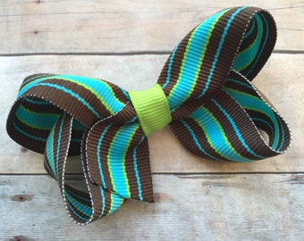 25% off SALE Turquoise striped hair bow - striped bow, boutique bow, 3 inch bows, toddler bows, girls hair bows, girls bow, baby bows
