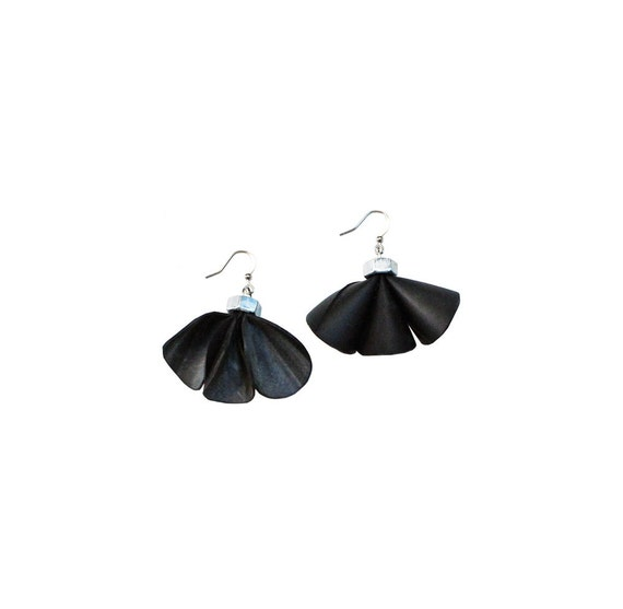 Black rubber earrings. Bicycle inner tube and silver bolts