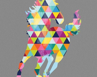 Horse Print Poster Stallion Gallop Animal Design Bright Colorful Colourful Geometric Grey Gray Wall Art Home Decor Gift