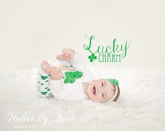 St Patrick's Day Outfit, Shamrock Onesie with Matching Leg Warmers and Headband, Sizes 0 to 5/6t