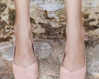 SUMBAWA. Nude leather flats / leather ballet flats / wedding ballet flats / soft shoes. Sizes 35-43. Available in different leather colors.
