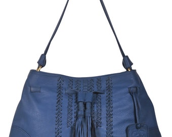 DREAMCATCHER. Blue leather tote bag / leather shoulder bag / boho leather bag /blue leather bag / boho. Available in different leather color