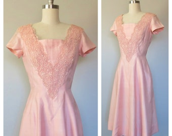 50s pink silk dress size small / 50s party dress