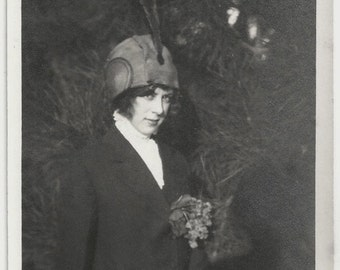 Old Photo Woman wearing Hat Coat Flowers Put in Coat 1910s Photograph snapshot vintage