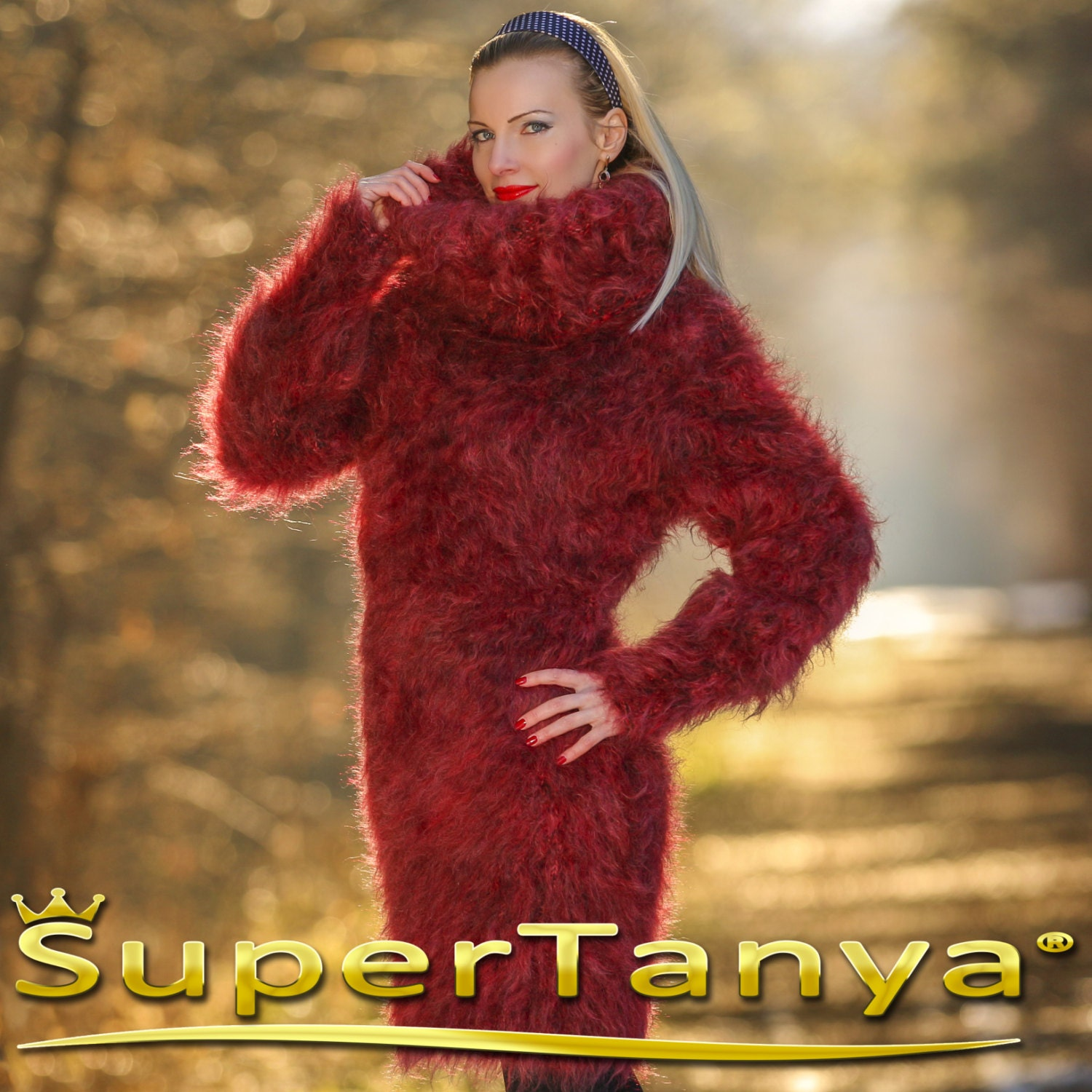 Beautiful thick and fuzzy hand knitted mohair sweater dress in