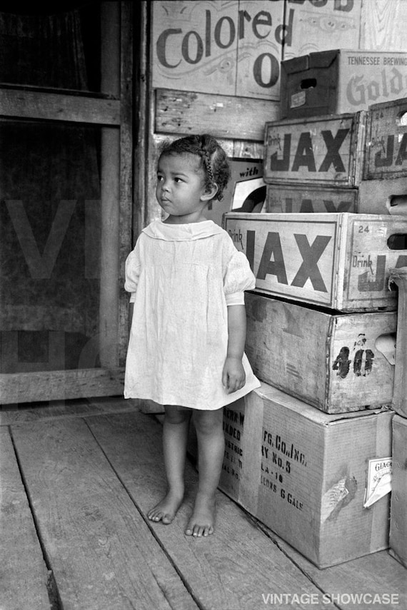 Old Vintage Photo of Little African American black girl - Negro - Small Child Vintage Photo Reprint