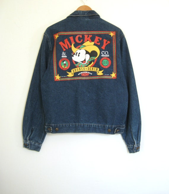 80s Mickey Mouse Jean Jacket Walt Disney Co By Thesavvybum