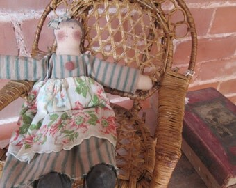 WICKER  DOLL ROCKER, vintage, childs doll rocker