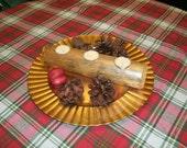 Wood Log Candle Holder - Tealight Holders - Rustic Decor White