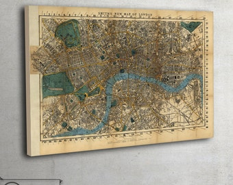 London map print , old Map of London - LARGE Canvas wall art - Ready To Hang, 069