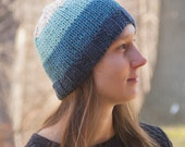 Women's Knit Beanie Hat, Winter Cap, Ombre Blue Stripes, Sky, Hipster Boho Style, Women's fashion accessory, women's hat, hand knitted