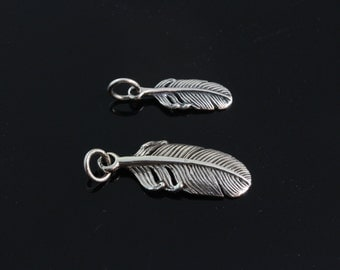 925 Sterling Silver Feather, Choose Small Medium, large size. Feather Pendant, Charms Feather. By Monyart