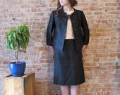 1960s Black and White Silk 3 Piece Suit - Made Men - Jackie Kennedy - Early 60s - Skirt - Jacket - Shell