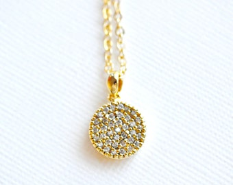 Pave Disc Necklace - Small Gold Layering Necklace