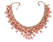 Pink Bib Necklace  Rhinestone Fringe  Crystal Drippy Gold Tone Festoon Statement