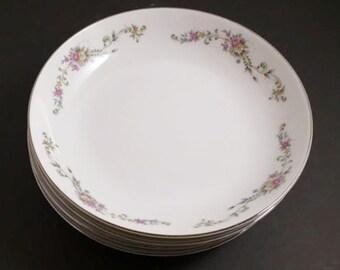 Vintage Bowls, Nikita, 4 Fine China Soup or Salad Bowls Japan, Flowered bowls