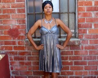 Vintage 80's  Silver Glitter Disco STUDIO 54 Glam Diva Silver Prom Mini Dress Size Extra Small to Small