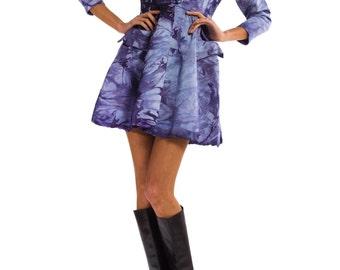 1980s Vintage Playful Short Purple Smoke Non Print Dress   Size: XS